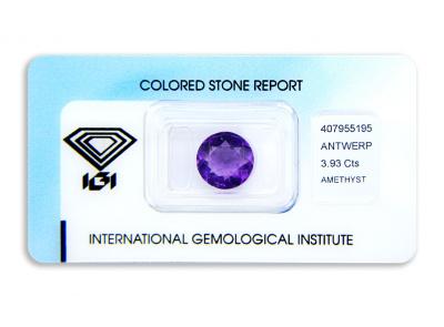 ametyst 3.93ct purple s IGI certifikátem