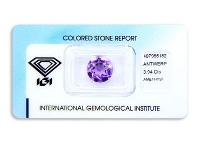 ametyst 3.94ct purple s IGI certifikátem