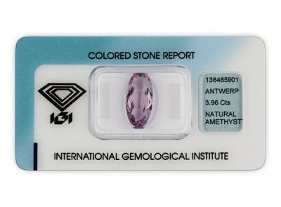 ametyst 3.96ct purple s IGI certifikátem