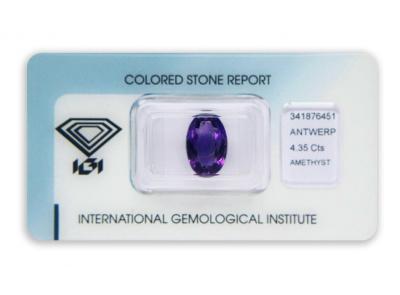 ametyst 4.35ct deep purple s IGI certifikátem