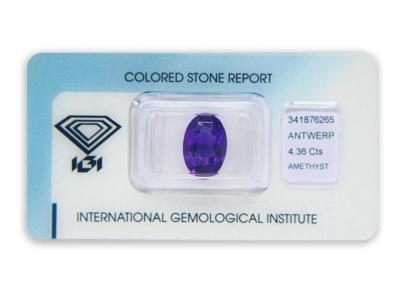 ametyst 4.36ct purple s IGI certifikátem