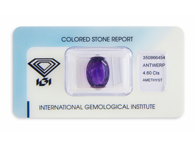 ametyst 4.60ct deep purple s IGI certifikátem