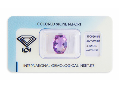 ametyst 4.62ct pinkish purple s IGI certifikátem