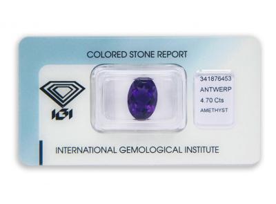 ametyst 4.70ct deep purple s IGI certifikátem
