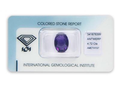 ametyst 4.72ct deep purple s IGI certifikátem