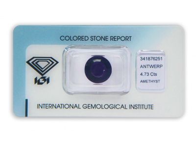 ametyst 4.73ct deep purple s IGI certifikátem