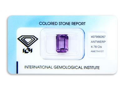 ametyst 4.78ct purple s IGI certifikátem