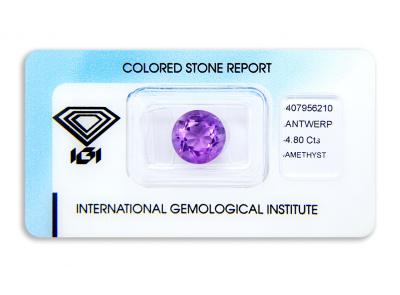 ametyst 4.80ct purple s IGI certifikátem