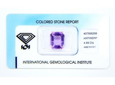 ametyst 4.89ct purple s IGI certifikátem
