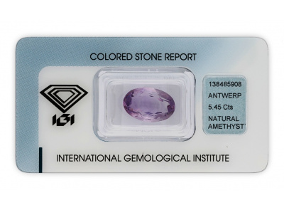 ametyst 5.45ct purple s IGI certifikátem