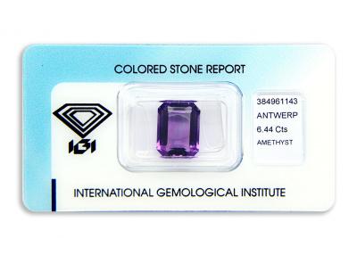 ametyst 6.44ct purple s IGI certifikátem