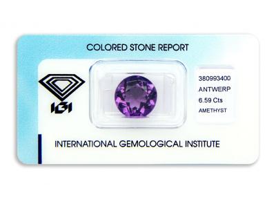 ametyst 6.59ct purple s IGI certifikátem