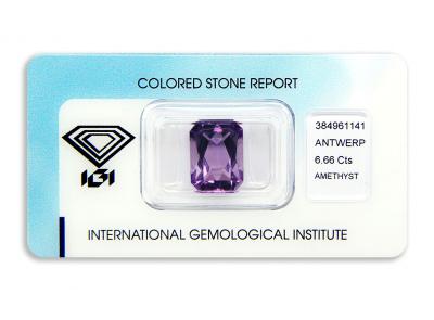 ametyst 6.66ct purple s IGI certifikátem