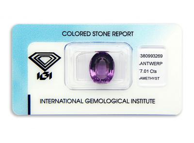 ametyst 7.01ct purple s IGI certifikátem
