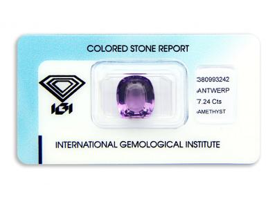ametyst 7.24ct purple s IGI certifikátem
