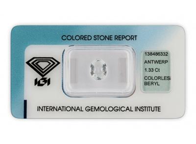 bezbarvý beryl 1.33ct colorless s IGI certifikátem