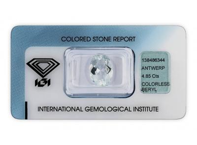 bezbarvý beryl 4.85ct colorless s IGI certifikátem