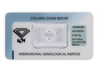 bezbarvý beryl 5.26ct colorless s IGI certifikátem