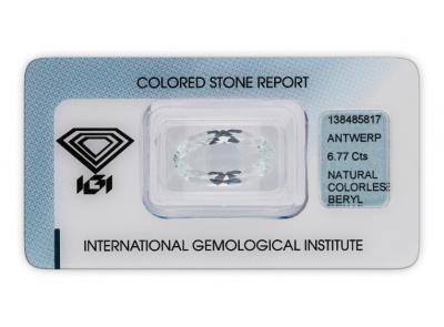 bezbarvý beryl 6.77ct colorless s IGI certifikátem