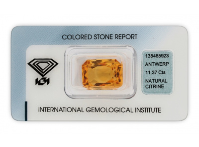 citrín 11.37ct yellow orange s IGI certifikátem