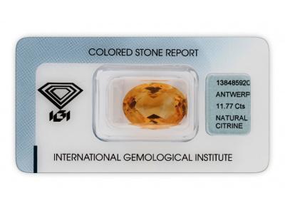citrín 11.77ct orange yellow s IGI certifikátem
