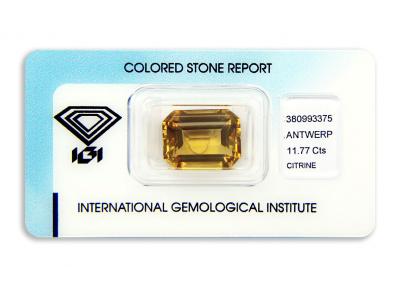 citrín 11.77ct orangy yellow s IGI certifikátem