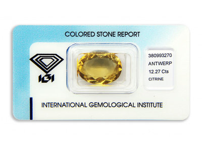 citrín 12.27ct orange-yellow s IGI certifikátem