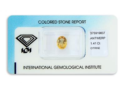 citrín 1.41ct orangy yellow s IGI certifikátem