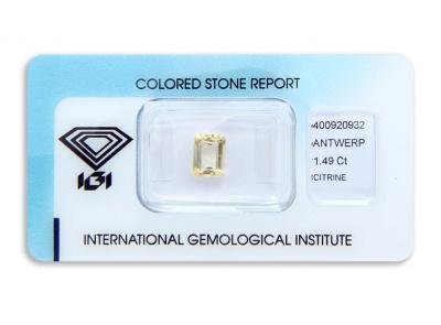 citrín 1.49ct yellow s IGI certifikátem