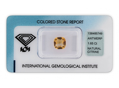 citrín 1.65ct yellow s IGI certifikátem