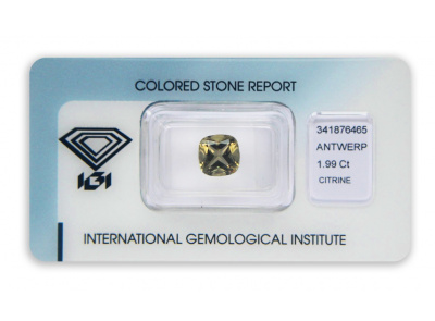 citrín 1.99ct greenish yellow s IGI certifikátem