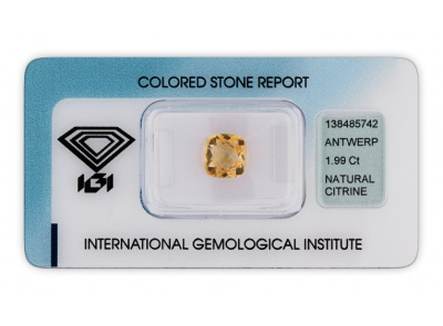 citrín 1.99ct yellow s IGI certifikátem