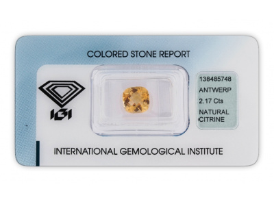 citrín 2.17ct yellow s IGI certifikátem