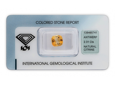 citrín 2.31ct yellow s IGI certifikátem