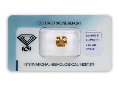 citrín 2.32ct yellowish orange s IGI certifikátem
