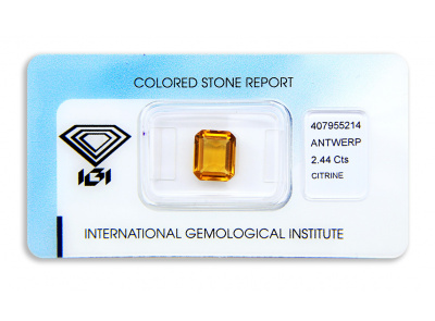 citrín 2.44ct yellowish orange s IGI certifikátem