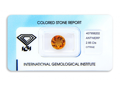 citrín 2.85ct deep yellowish orange s IGI certifikátem