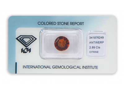 citrín 2.89ct brownish orange s IGI certifikátem