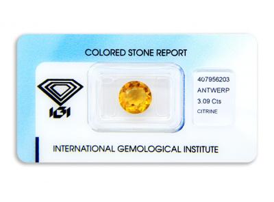 citrín 3.09ct yellowish orange s IGI certifikátem