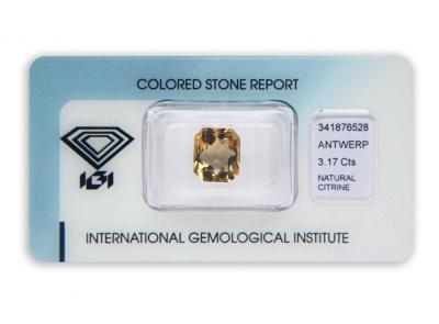 citrín 3.17ct orangy yellow s IGI certifikátem