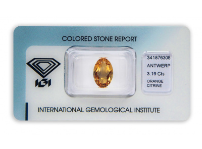 citrín 3.19ct yellowish orange s IGI certifikátem