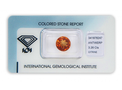 citrín 3.26ct orange s IGI certifikátem