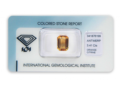 citrín 3.41ct yellowish orange s IGI certifikátem