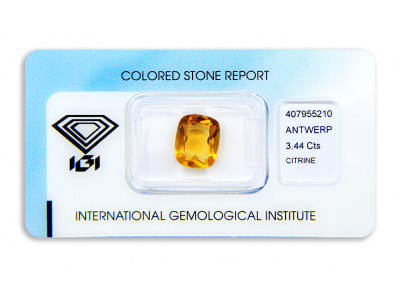 citrín 3.44ct yellowish orange s IGI certifikátem