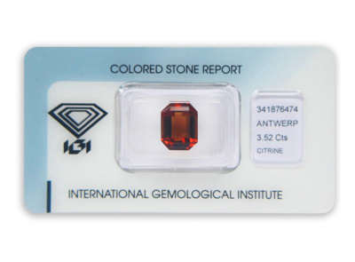citrín 3.52ct brownish orange s IGI certifikátem