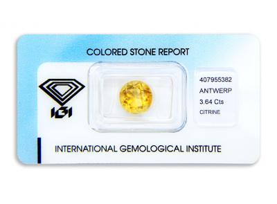 citrín 3.64ct orangy yellow s IGI certifikátem
