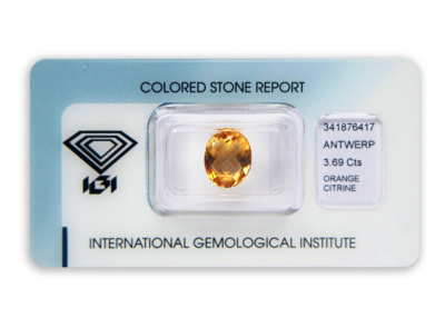 citrín 3.69ct yellowish orange s IGI certifikátem