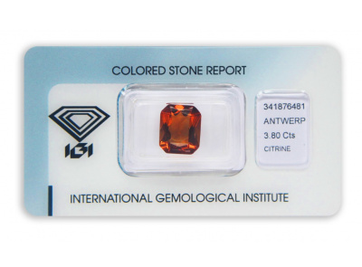citrín 3.80ct deep orange s IGI certifikátem