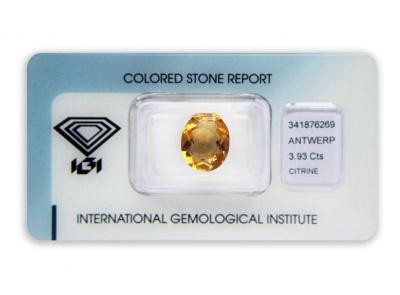 citrín 3.93ct yellow-orange s IGI certifikátem