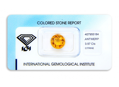citrín 3.97ct yellowish orange s IGI certifikátem